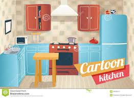 kitchen furniture accessories interior cartoon stock vector