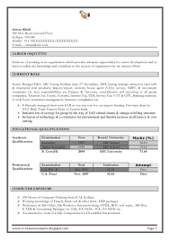 Fresher Accountant Resume Sample by Resume Format For Freshers Accountant Resume For Your Job