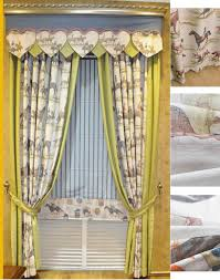 Rustic Country Curtains Yellow Horse Linen Cotton Country Curtains