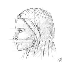 how to draw the female face side profile tutorial by