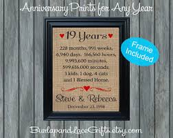 19th wedding anniversary gift 19 years of marriage etsy