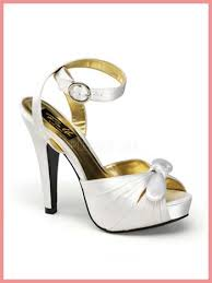 wedding shoes ankle white satin pinup couture ankle peep toe platform heels