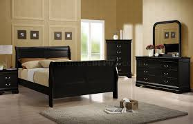 Black Sleigh Bed Black Finish Quintessential Louis Philippe Bedroom W Sleigh Bed