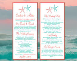 Beach Wedding Program Templates Starfish Wedding Program Fan Template Beach By Paintthedaydesigns