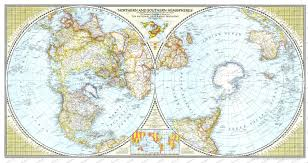 World Map With Hemispheres by 1943 Northern And Southern Hemispheres Map Historical Maps