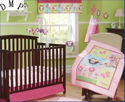 Bed Skirt For Crib Promotion 7pcs Appliqued Baby Cot Crib Bedding Set For