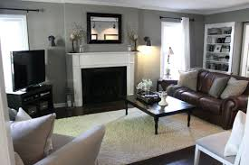elegant grey color ideas for living room with brick fireplace and