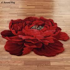 Flower Area Rug Scarlet Magic Peony Flower Shaped Rugs
