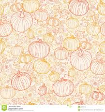 thanksgiving line pumkins seamless pattern stock vector