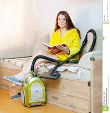 tired woman reposes from household chores stock photo image
