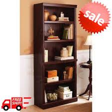 bookcase wide 4 shelf bookshelf wood storage 7 cabinet shelving