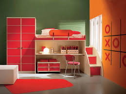 Purple And Orange Color Scheme Red Wardrobe Built In Bedstead And Student Desk With Stairway In