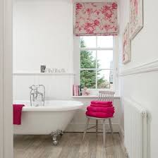 pink bathroom decorating ideas white panelled bathroom with pink accents bathroom decorating
