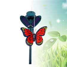 2pcs lifelike solar dual rotation simulation butterfly garden