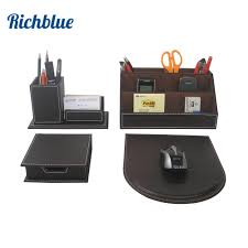 ever perfect 4pcs set leather desk stationery accessories