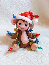 monkey ornament children personalized gift polymer clay