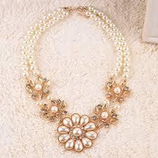 pearl charm necklace images Vintage elegant charm necklace women ladies pearl necklace chain jpg