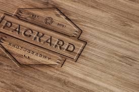 wood engraving wood engraved logo mockup with photoshop