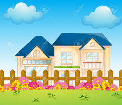 Home Clipart Illustration Of A Concrete House Inside The Fence Royalty Free