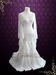 mermaid satin wedding dress with lace bell sleeves liz ieie bridal