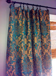 teal damask curtain panel custom drapery in by stitchandbrush