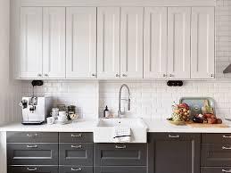 Kitchen Top Cabinets White Upper Cabinets Dark Lower Cabinets Vintage Kitchen