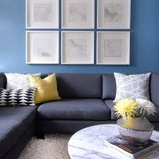 Gray Blue Living Room Round Coffee Table Design Ideas