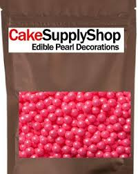 edible pearl cakesupplyshop bright pink pearl candy cake and cupcake