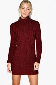 lottie cable knit jumper dress boohoo