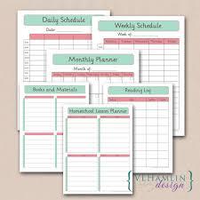 printable home planner calendar schedule lesson plan