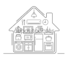 modern kitchenware icons in house u2014 stock vector bsd 86485804