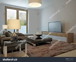 scandinavian style living room living room scandinavian style 3d render stock illustration
