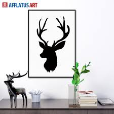 68 Best Wall Silhouettes Images by 2017 Nordic Vintage Black White Deer Head Animals Silhouette A4