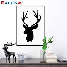 2017 nordic vintage black white deer head animals silhouette a4