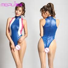 shiny swimsuit women patchwork neck halter high cut bodysuit zipper open