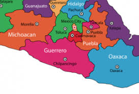 map of mexico with states guerrero state mexico near mexico city and troncones in southwest