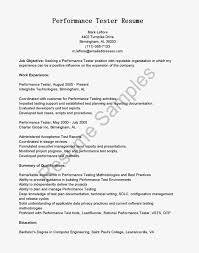 Testing Resume For 1 Year Experience Webload Performance Tester Cover Letter