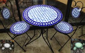 Blue Bistro Chairs Dining Room Lovable Mosaic Bistro Table For Inspiring Home