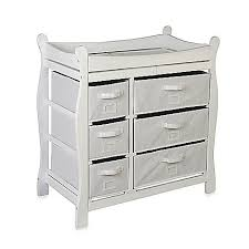 badger basket sleigh her changing table badger basket sleigh changing table with 6 baskets in white our