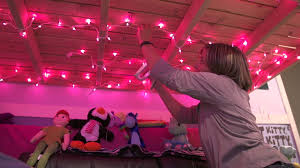 fairy lights on ceiling of bedroom decorate my house with pink