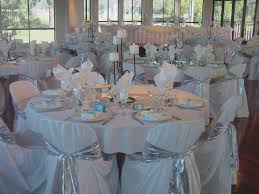 baby blue and silver wedding centerpieces alternating white and
