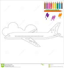 coloring page with airplane stock vector image 69567219