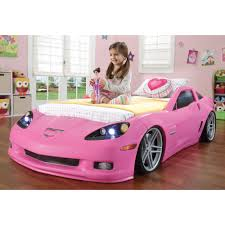 pink toddler car step2 corvette convertible toddler to twin bed with lights pink