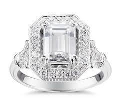 vintage halo engagement rings blue nile studio emerald vintage fleur de lis halo engagement ring