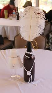 Where To Buy Ostrich Feathers For Centerpieces by 1920 U0027s Theme Bridal Shower Center Pieces Empty Wine Bottle