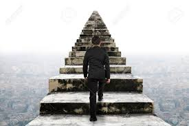 businessman climbing the old concrete stairs with urban scene