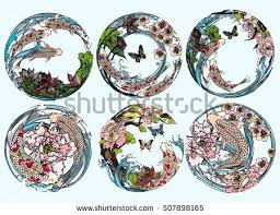 vector set koi birds butterflies lotus stock vector 507898165