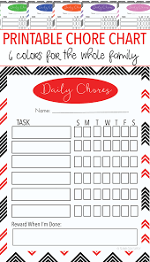 free printable family chore chart set with 6 colors sunny day family