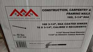 10210 framing nails 16d common 50 pounds bulk ebn construction