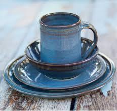 blue ceramic dinnerware set 4 made crafted